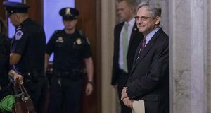 Judge Merrick Garland, President Barack Obama's choice to replace the late Justice Antonin Scalia on the Supreme Court, arrives on Capitol Hill in Washington, Tuesday, April 12, 2016, for a private breakfast meeting with Senate Judiciary Committee Chairman Sen. Charles Grassley, R-Iowa. (AP Photo/J. Scott Applewhite)