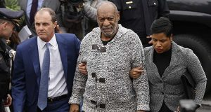 In this Dec. 30, 2015, file photo, Bill Cosby, center, accompanied by his attorneys Brian McMonagle, left, and Monique Pressley, arrives at court to face a felony charge of aggravated indecent assault in Elkins Park, Pa. Cosby faces a preliminary hearing Tuesday, May 24, 2016, to determine if his criminal sex-assault case in suburban Philadelphia goes to trial. (AP Photo/Matt Rourke, File)