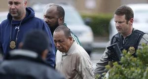 In this photo taken May 6, 2016, Police take Eulalio Tordil, 62, a suspect in three fatal shootings in the Washington, D.C., area into custody in Bethesda, Md. (AP Photo/Alex Brandon)