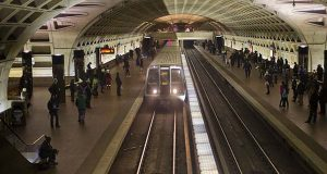 In this Jan. 13, 2015 file photo, a subway train arrives at the L'Enfant Metro Station in Washington.  (AP Photo/Pablo Martinez Monsivais, File)