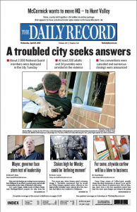 The April 29 front page of The Daily Record. Designer Dan Karlin won first prize for front page design, and photographer Maximilian Franz won first place for his photograph.
