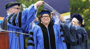 U.S. Supreme Court Justice Sonia Sotomayor receives an Honorary Doctor of Laws degree during the University of Rhode Island commencement ceremony, Sunday, May 22, 2016, in South Kingstown, R.I. (Glenn Osmundson/The Providence Journal via AP)