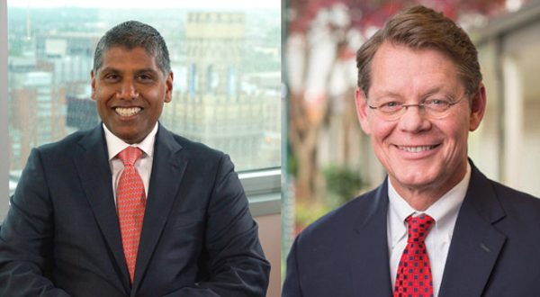 Dr. Mohan Suntha, left, will be the new president and CEO of the University of Maryland Medical Center effective Sept. 1, 2016.  Dr. Thomas Smyth, right, will take over Suntha's current role as president and CEO of the University of Maryland St. Joseph Medical Center (photos from UMMS).