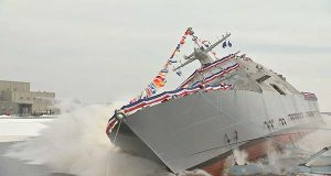 The future USS Sioux City  is launched Jan. 30 into the Menominee River in Marinette, Wisc. It is a Freedom variant littoral combat ship. (U.S. Navy photo by Lockheed Martin)