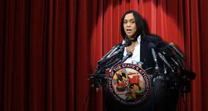 Baltimore City State's Attorney Marilyn Mosby's press conference May 1, 2015, from the steps of the War Memorial Building form the foundation of defamation lawsuits filed by five of the six police officers Mosby charged that day in connection with the death of Freddie Gray. (Photo illustration by Maximilian Franz)