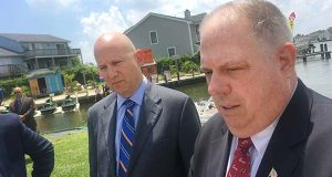 f Delaware Governor Jack Markell, Democrat and Maryland Governor Larry Hogan at a press conference in Delmarva. (The Daily Record / Bryan Sears)