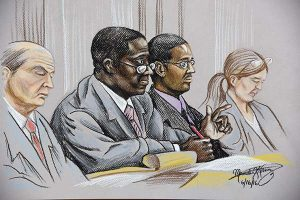 Defense team from Left- Andrew Graham; Matthew Frailing examining a witness; Officer Caesar Goodson, and Amy Askew. (Courtroom Sketch by Maximilian Franz)