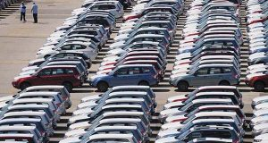 Cars at a Marine Terminal in Dundalk in 2009. An automotive terminal is slated to open at Sparrows Point. (The Daily Record / Maximilian Franz)