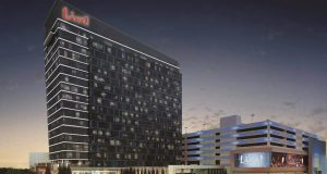 Rendering shows the planned nighttime exterior for Cordish Cos.'s planned hotel at Maryland Live Casino. (Rendering Courtesy Cordish Cos.)