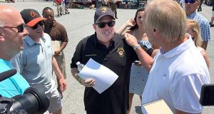 Gov. Larry Hogan appears in 2016 at the J. Millard Tawes Crab and Clam Bake in Crisfield. (The Daily Record / Bryan P. Sears)