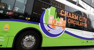 08.15.2011 BALTIMORE, MD- Photos of a Charm City Circulator bus driving up Charles Street in Baltimore. (The Daily Record/Maximilian Franz).