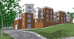 Rendering of the Falls Hill View Apartment that is being built at 1100 Falls Hill Drive, an undeveloped piece of land near the trendy Hampden neighborhood.