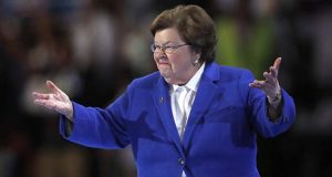 Sen. Barbara Mikulski, D-MD, takes the stage before nominating Hillary Clinton for president during the second day of the Democratic National Convention in Philadelphia , Tuesday, July 26, 2016. (AP Photo/Paul Sancya)