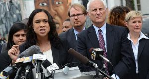 Marilyn Mosby addresses reporters Wednesday after prosecutors dropped criminal charges against the six officers charged in connection with the death of Freddie Gray. (Maximilian Franz/The Daily Record)