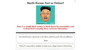 A screenshot of NewsUp's North Korea quiz, which is being used to promote a campaign to provide flash drives of film, TV, and literature from the outside world to the people of North Korea.