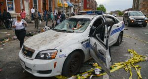 This police cruiser was heavily damaged during the April 2015 riots in Baltimore. (File Photo)