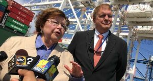 U.S. Sen. Barbara Mikulski, left, and Maryland Transportation Secretary Pete Rahn answer questions from reporters on Tuesday at the Seagirt Marine Terminal in Dundalk to welcome the first Panamax ships that arrived. (The Daily Record / Maximilian Franz)