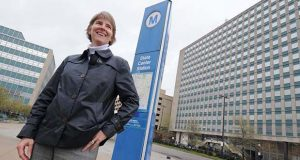 Caroline Moore, CEO of Ekistics LLC and the master developer of State Center, outside the site of the project. (The Daily Record/Maximilian Franz).(The Daily Record/Maximilian Franz).