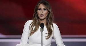 Melania Trump speaks during the opening day of the Republican National Convention in Cleveland, Monday, July 18, 2016. (AP Photo/J. Scott Applewhite)