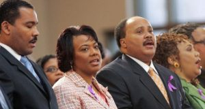 Dexter Scott King, the Rev. Bernice King, Martin Luther King III and Yolanda King participate in a musical tribute to their mother at the new Ebenezer Baptist Church in Atlanta in February 2006. A judge on Monday signed an order ending an ownership dispute over the Rev. Martin Luther King's traveling Bible and Nobel Peace Prize medal that had essentially pitted the slain civil rights leader's two sons against Bernice. (John Bazemore/AP file photo)