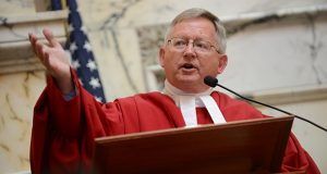 Court of Appeals Judge Joseph M. Getty, the newest member of the Court of Appeals, during his investiture in June in Annapolis. Getty has been a lobbyist and legislative policy advisors for the last two Republican governors and a state legislator but says he has no jitters starting his new role. 'I think my background has prepared me for the types of things that will come before the court,' he says. 'I feel very confident.' (Maximilian Franz/The Daily Record)