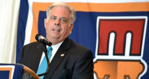 Larry Hogan speaks at MACO in 2014, before he was governor. (The Daily Record / Bryan Sears)