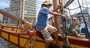 BALTIMORE, MD-Volunteer crewmembers Roy Mascari and Samantha Wilt, help secure the Maryland Dove, a 76 foot long tall ship, at Pier 1 in the Balitmore Inner Harbor. As part of the 40th Anniversary of Sail Baltimore, free tours of the replica 17th century English trading ship will be available from Saturday 8-20 to Sunday 8-28. (The Daily Record/Maximilian Franz)  From August 19-29, The Maryland Dove will berth at Pier 1 in the Inner Harbor, opposite the USS Constellation. The Dove is a re-creation/replica of a late 17th century English trading ship which made the first expedition from England to the Province of Maryland. Built over a fifteen-month period by Maryland resident James B. Richardson, it was launched in 1978 and was commissioned the Maryland Dove by Governor Harry R. Hughes for the 350th Anniversary of the settling of the Province of Maryland.   Friday, August 19 - Monday, August 29 Scheduled to dock at Pier 1 at approximately 2pm on 8/19; no tours on day of arrival  Free public tour hours will be as follows: Saturday 8/20: 10am-7pm Sunday 8/21: 10am-5pm Monday 8/22: 10am-5pm Tuesday 8/23: 10am-5pm Wednesday 8/24: 10am-5pm Thursday 8/25: 10am-5pm Friday 8/26: 10am-6pm Saturday 8/27: 10am-7pm Sunday 8/28: 10am-5pm   WHERE:  Pier 1, opposite the USS Constellation in the Inner Harbor   (The Daily Record/Maximilian Franz)