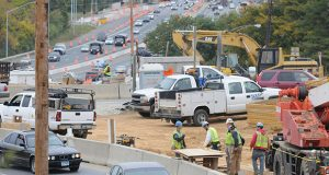 Traffic congestion at the intersection of 695 and Charles Street where they are working on a new bridge and ramps.  Photo by Maximilian Franz 10-13-09