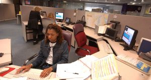 A 911 call taker in the Baltimore County Call Center in 2004.  (File)