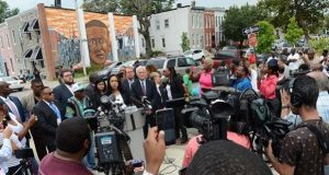 Baltimore City State's Attorney Marilyn J. Mosby addresses the media July 27 after prosecutors dropped the remaining charges against officers charged in connection with the death of Freddie Gray. (The Daily Record/Maximilian Franz)