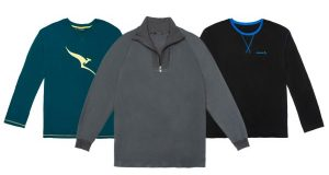 A sampling of pajama tops offered by airlines. (Josh Dickerson/Bloomberg)