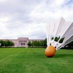 This May 7, 2009 photo provided by Carol M. Highsmith, shows shuttlecock sculptures, designed by the husband and wife team of Claes Oldenburg and Coosje van Bruggen, displayed on the lawn of the Nelson Atkins Art Museum in Kansas City, Mo. Highsmith, an accomplished Maryland photographer who lets the public use thousands of her images taken across America for free, is suing Getty Images for over $1 billion, saying the company is selling them without permission. (Carol M. Highsmith America Collection/Library of Congress via AP)