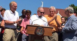 Gov. Larry Hogan announcing his executive order in August in Ocean City. (The Daily Record / Bryan P. Sears)