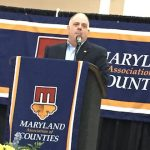 Gov. Larry Hogan closes out the annual Maryland Association of Counties convention in Ocean City on Saturday afternoon. (Bryan P. Sears/The Daily Record)