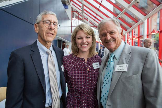 From left, Mark Wasserman, Jen Driban and former Orioles catcher Rick Dempsey attended the National Aquarium's 35th anniversary party. (National Aquarium photo)