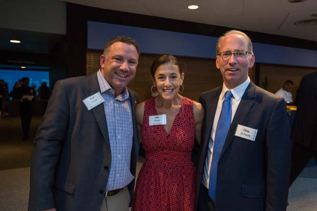 From left, Ken Ulman, the founder of Margrave Strategies, former Howard County executive and one-time candidate for lieutenant governor; Ulman's wife, Jaki Ulman; and Chip DiPaula, cofounder of Flywheel Digital, were all smiles during the National Aquarium's 35th anniversary party. (National Aquarium photo)