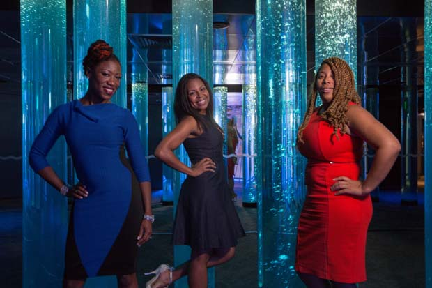From left, Dionne Joyner-Weems, Shelonda Stokes and Casey Brent pose for a photo during the National Aquarium's 35th anniversary party. (National Aquarium photo)