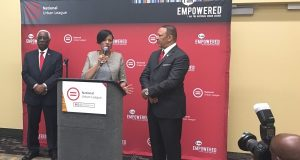 Mayor Stephanie Rawlings-Blake addresses reporters to kickoff the National Urban League's annual conference in Baltimore. Standing with Rawlings-Blake are J. Howard, Henderson, left, president and CEO of the Baltimore Urban League, and Marc Morial, president and CEO of the National Urban League. (Andrea Cwieka/The Daily Record)