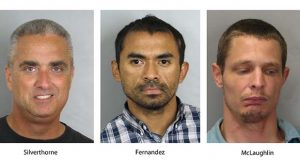 "These booking photos provided by the Fairfax County, Va., Police Department show, from left, City of Fairfax, Va. Mayor Richard ""Scott"" Silverthorne, Juan Jose Fernandez, 34, and Caustin Lee McLaughlin, 21, both of Maryland. Silverthorne is facing drug charges after police say he was arrested in a meth-for-sex sting. Police say detectives located Silverthorne's two suppliers and they were also arrested and charged.  (Fairfax County, Va., Police Department via AP)"