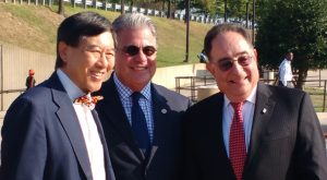 University of Maryland, College Park President Wallace D. Loh, University System of Maryland Chancellor Robert L. Caret and University of Maryland, Baltimore President Jay A. Perman at Greenbelt Metro Station Sept. 13, 2016. (Daniel Leaderman/The Daily Record.)