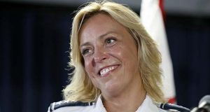 Washington police chief Cathy Lanier smiles while speaking during a news conference, Tuesday, Aug. 16, 2016 in Washington. Lanier is stepping down to become head of security for the National Football League. (AP Photo/Alex Brandon)