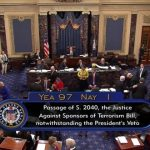 This frame grab from video provided by C-SPAN2, shows the floor of the Senate on Capitol Hill in Washington, Wednesday, Sept. 28, 2016, as the Senate acted decisively to override President Barack Obama's veto of Sept. 11 legislation, setting the stage for the contentious bill to become law despite flaws that Obama and top Pentagon officials warn could put U.S. troops and interests at risk. (C-SPAN2 via AP)