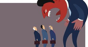 Anger boss looking lie a monster yelling at terrified employees, vector cartoon