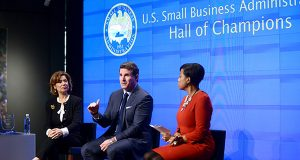 From left, during the panel discussion at the Small Business Administration's First Hall of Champions award ceremony honoring Under Armour CEO Kevin Plank, are Maria Contreras-Sweet, administrator for the Small Business Administration, Plank and Baltimore Mayor Stephanie Rawlings- Blake. (Maximilian Franz / The Daily Record)