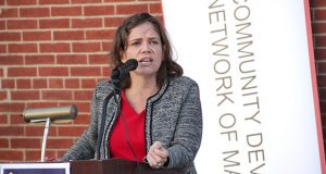 10-17-2016 BALTIMORE, MD- Odette Ramos, Executive Director of Maryland Community Development Network speaking at the kickoff for Community Development Week.  (The Daily Record/ Maximilian Franz).
