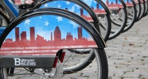 Baltimore launched its bike share program on Monday. The fleet of 500 bikes will be placed at 50 stations around the city. (The Daily Record/Adam Bednar)