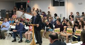 Dozens of Frostburg, Md., residents rally Thursday, Oct. 20, 2016, and testify before the Frostburg City Council to press for local action to ban fracking, Former Mayor John Bambacus testifies. (Steven Bittner/Cumberland Times-News via AP)
