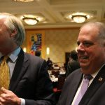 Maryland Comptroller Peter Franchot and Gov. Larry Hogan at the the Greater Bethesda Chamber of Commerce meeting Friday. (CNS photo)