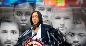 From left, Officer Edward Nero, Sgt. Alicia White, Lt. Brian Rice and Officers Garrett Miller and William Porter have filed civil lawsuits against Baltimore City State's Attorney Marilyn J. Mosby seeking unspecified damages for false arrest and defamation, among other counts. Mosby on Thursday will ask a federal judge to dismiss the claims, arguing she cannot be held civilly liable for any actions she takes as a prosecutor. (Photo illustration by Maximilian Franz/The Daily Record)