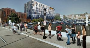 This rendering shows The Nelson Kohl apartments from Charles Street. (Courtesy LSC Design)
